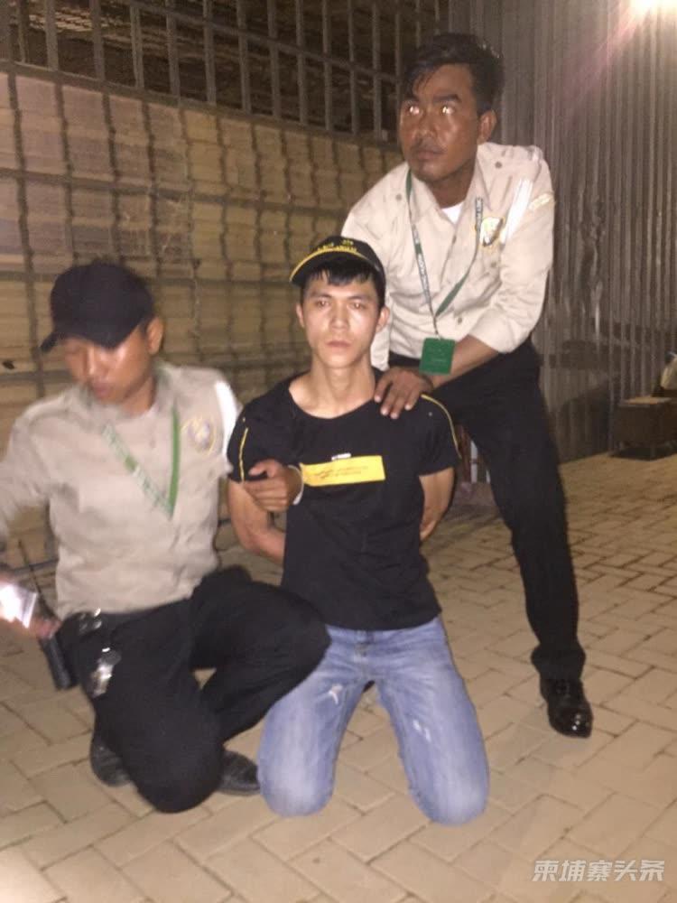 金边一名中国男子涉嫌撬门行劫被捕